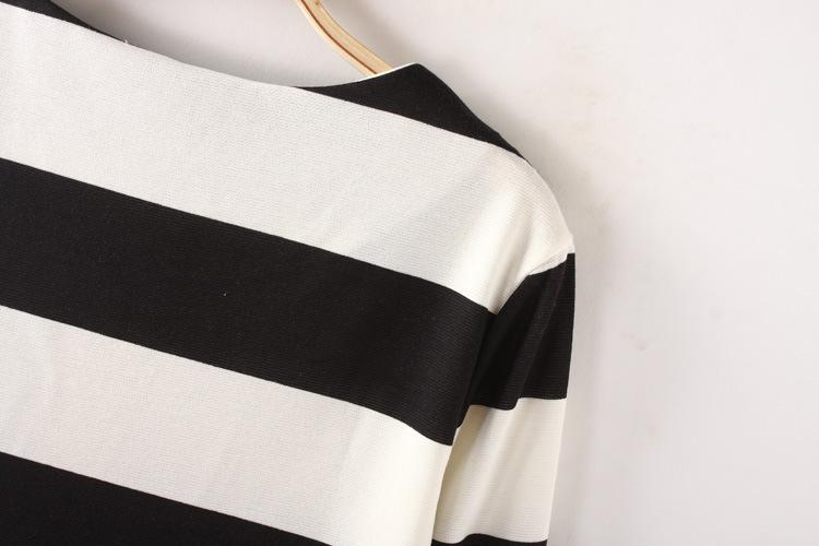 Chic Color Stitching Stripe Dress [FXBI00388] - PersunMall.com