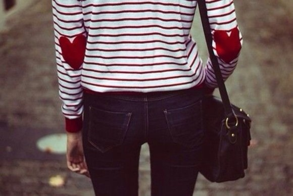 elbow patch shirt stripes heart