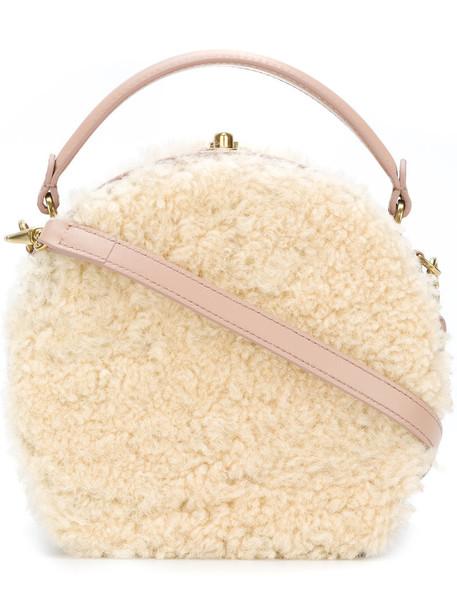 BERTONI fur women fluffy clutch leather nude bag