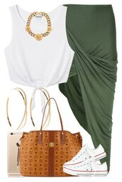 skirt,shirt,jewlrey,gold chain,converse,allstars,mcm,mk tote bags,purse,wrap skirt,green,large gold hoop earrings,dope,swag,crop tops,loveable,iphone cover,sweet 16,urban,high school dresses,cute,asymmetrical skirt,summer outfits,hunter green,tie-front top,white crop tops