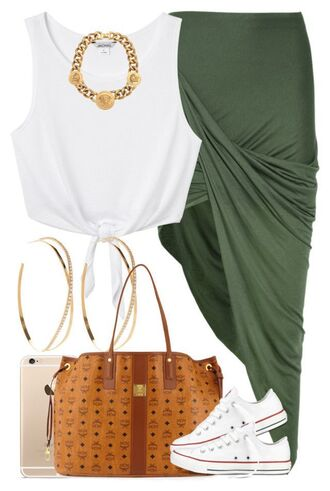 skirt shirt jewlrey gold chain converse allstars mcm mk tote bags purse wrap skirt green large gold hoop earrings dope swag crop tops loveable iphone cover sweet 16 urban high school dresses cute asymmetrical skirt summer outfits hunter green tie-front top white crop tops