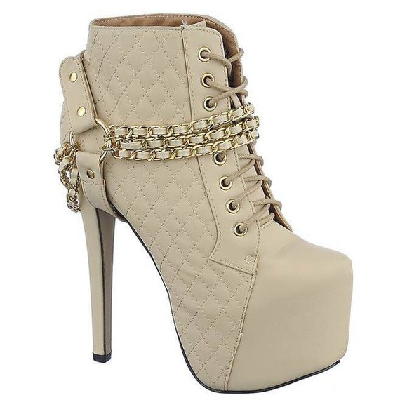 boots beige shoes combat boots tan boots gold chains beige