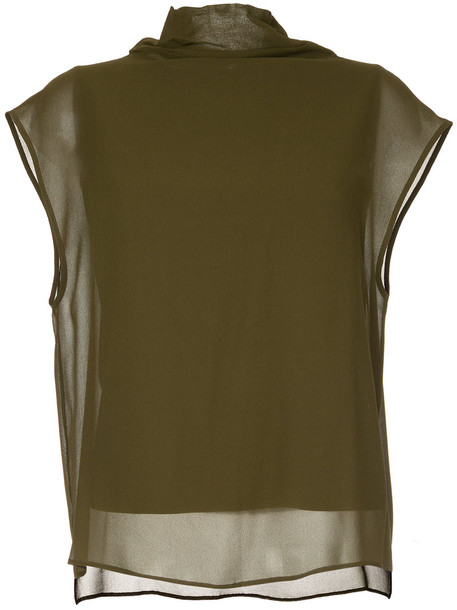Jean Paul Knott top high women high neck layered cotton silk green