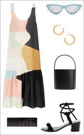 le fashion image,blogger,dress,sunglasses,bag,spring outfits,summer outfits,sandals,mid heel sandals,handbag,colorblock dress