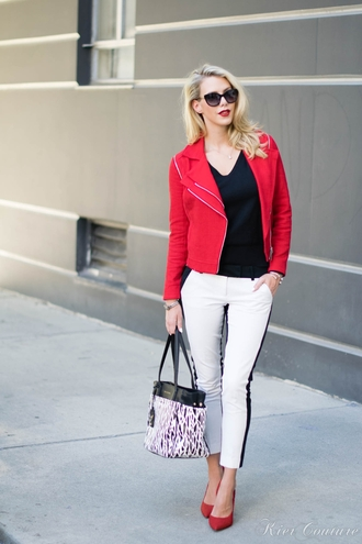 fashion addict blogger bag jacket jewels pants red marble sunglasses