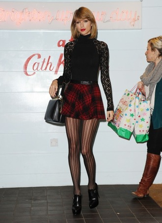 skirt tights taylor swift fall outfits top turtleneck lace