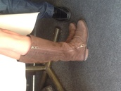 shoes,boots,brown,zip,brown leather boots