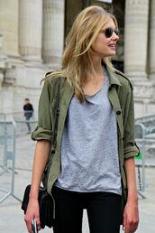 t-shirt,grey t-shirt,jacket,bag,blouse,model,shirt,overshirt,green,khaki green,olive green,casual