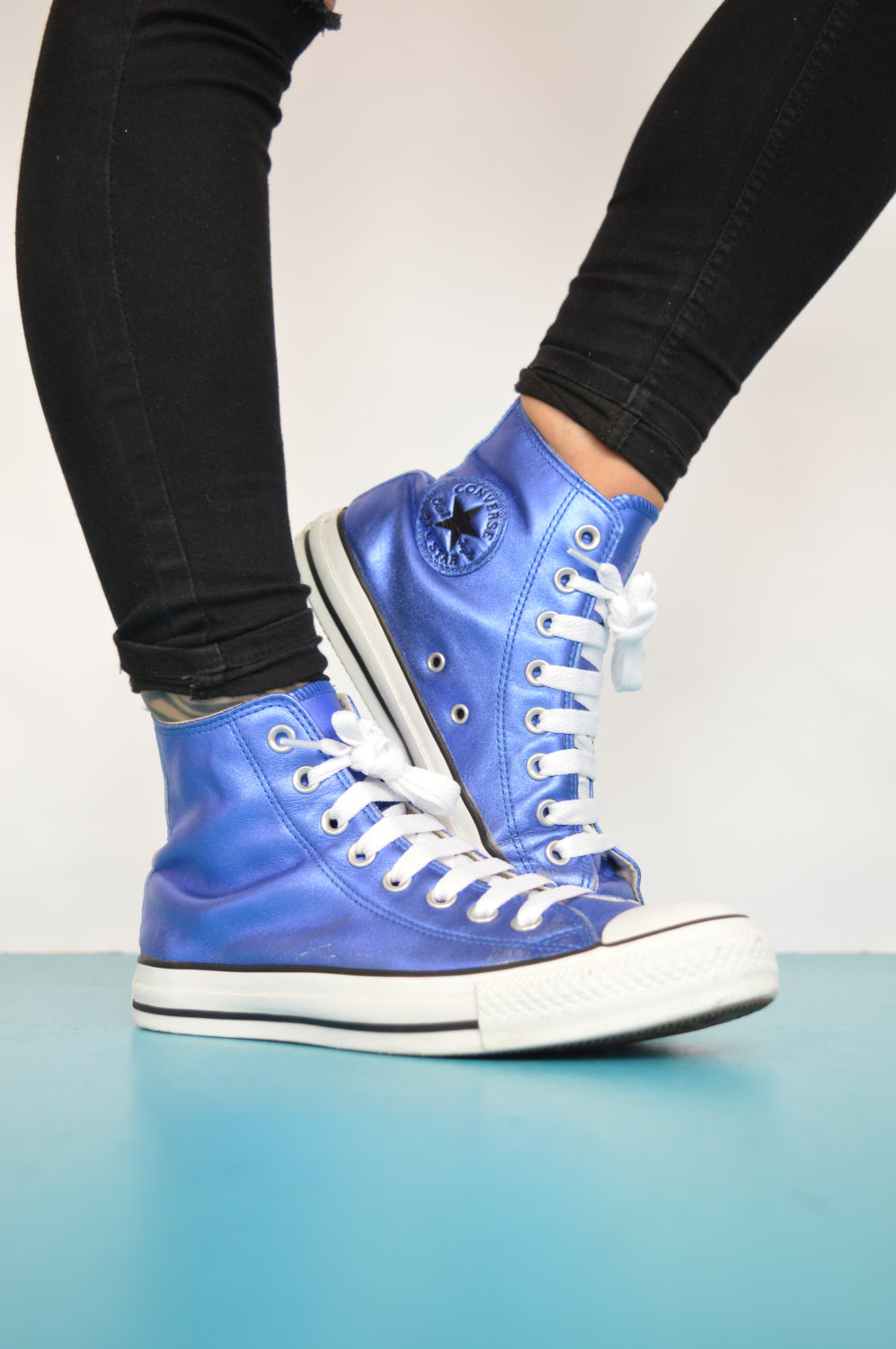 77661f7c443a Vintage 1990s Metallic Blue Converse Hi-Tops Trainers Sneakers All ...
