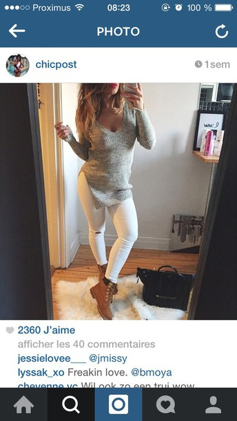 sweater grey sweater jeans