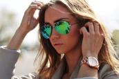 sunglasses,blogger,summer,beach,gold,green,ray ban sunglasses,yellow green sunglasses,same color please