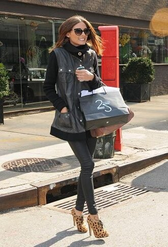 brown shoes derbies high heels olivia palermo sunglasses jacket