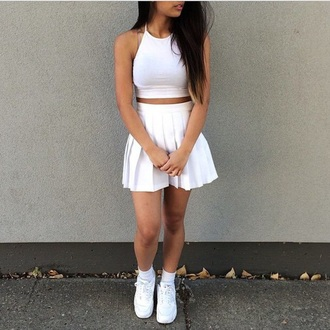 skirt white pleated