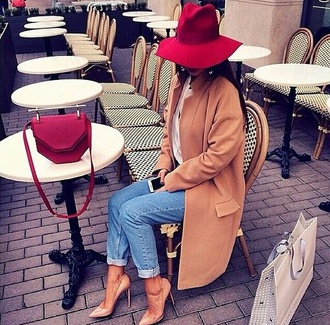 bag coat camel coat jacket camel long coat classy hat red home accessory