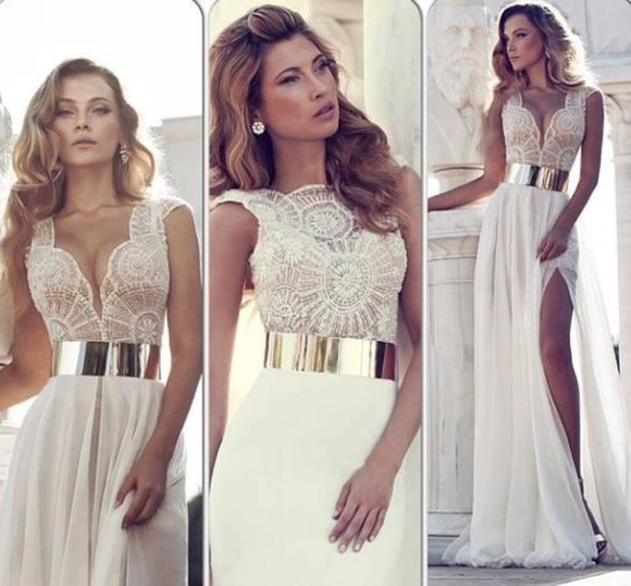 dress white dress white beige dress long dress long prom dress gold belt beige