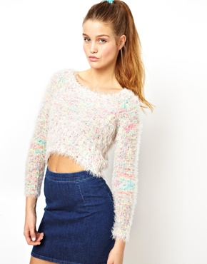 ASOS | ASOS Fluffy Crop Sweater In Multi Yarn at ASOS