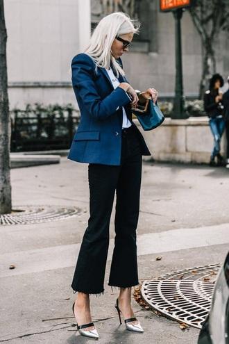 jeans black jeans sunglasses black sunglasses blazer blue blazer shoes metallic shoes heels kick flare cropped jeans work outfits jacket