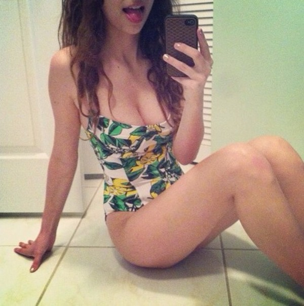swimwear one piece swimsuit long hair lemons pretty girl