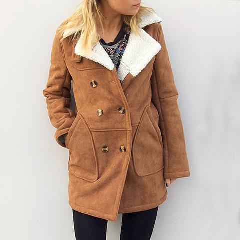 Faux shearling coat by little by little