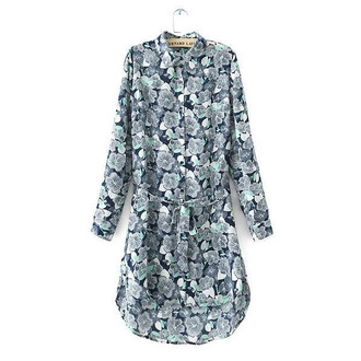 floral dress tunic dress long shirt high-low dresses t-shirt dress