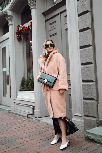 coat tumblr pink coat oversized oversized coat shoes white shoes mules bag sunglasses