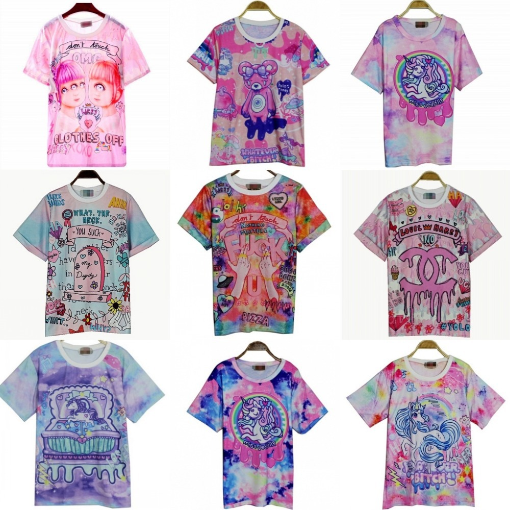 Vt women's t shirts harajuku fuck gradient soft candy color doodle short t shirt tshirt women girl cute cartoon unicorn pegasus