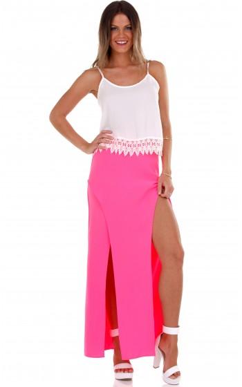 Splitsville maxi skirt in neon pink