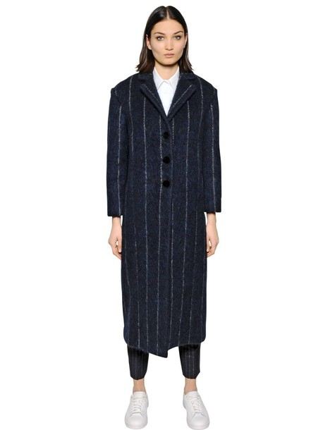 coat wool neoprene navy
