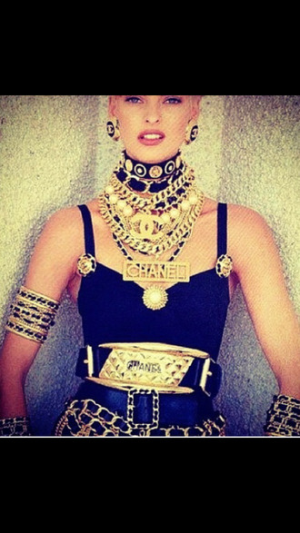 jewels chanel vintage fashion haute couture all gold everything chanel inspired necklace bracelets ring waist belt gold chunky necklace gold chain stud earrings gold waist belt blackbarbie
