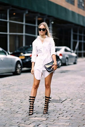 le fashion image blogger sunglasses dress shirt bag