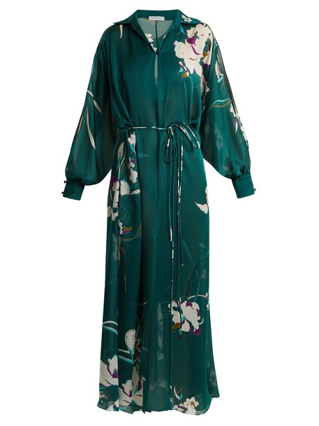 floral print silk satin green top