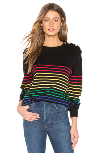 Central Park West Frascati Crew Nautical Sweater in black
