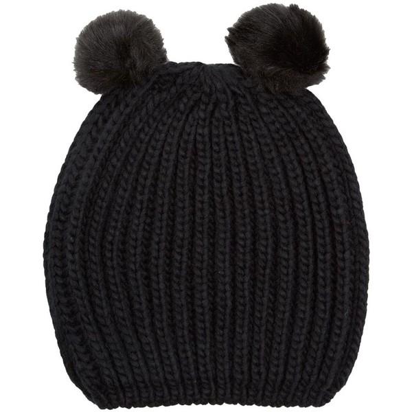 Black Animal Pom Ear Beanie - Polyvore