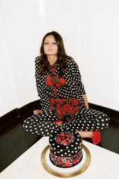 shoes,nastygal,polka dots,red platforms,red heels,platform shoes,wedges,blazer,print,jacket,pants