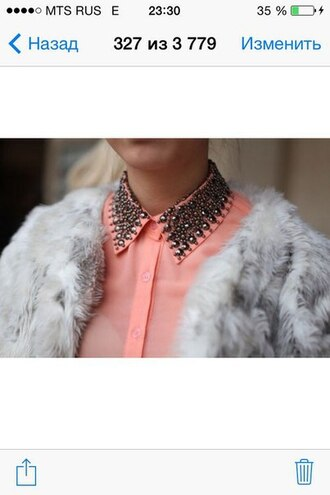blouse coral pink beaded clothes fashion