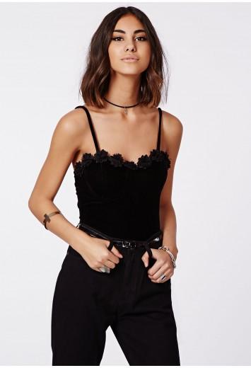 Kayella velvet lace flowers cut out bodysuit black