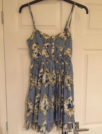 dress blue cream tea dress tea white buttons diamonds floral pattern topshop size 8 cotton