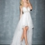 High Low White Sweetheart Appliques Tulle Prom Dress PD11392