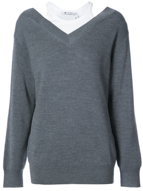 sweater women spandex layered cotton grey