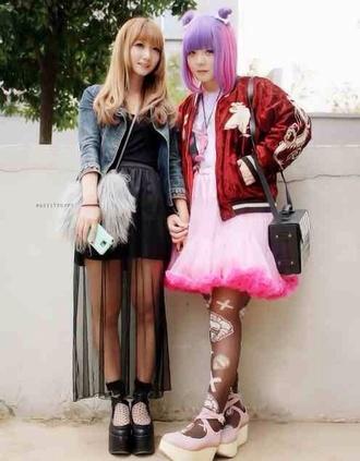 dress kawaii black fashion kawaii grunge tights tokyo fashion harajuku jacket shoes