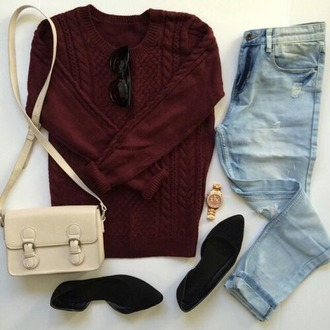 sweater wine color jeans shoes