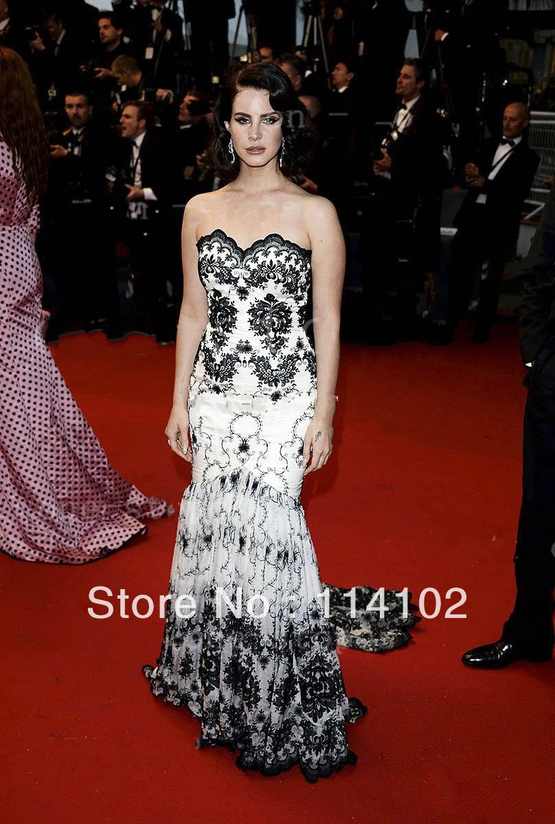 Inspired by 2013 Cannes Festival Sweetheart Nude Black Lace Mermaid Prom Dresses Lana del Rey Gown-in Celebrity-Inspired Dresses from Apparel & Accessories on Aliexpress.com