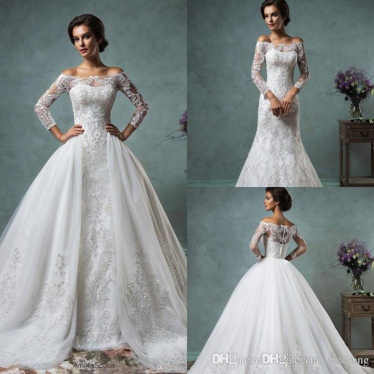 2016 Amelia Sposa Full Lace Wedding Dresses With Detachable Train ...