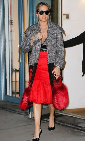 skirt midi skirt red red skirt rita ora top coat fall outfits bodysuit
