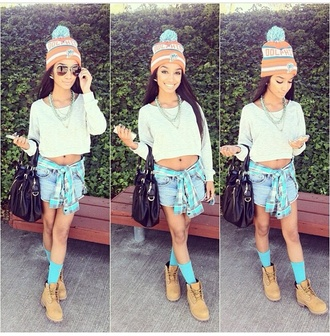 hat shoes shorts sweater blouse