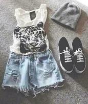 tank top,roar,tiger,cool,shorts