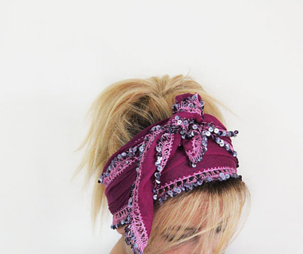 scarf headband turband hair hair accessory hair bow purple hair
