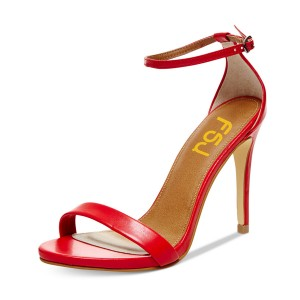 FSJ Red Ankle Strap Sandals Stiletto Heels US Size 4-15