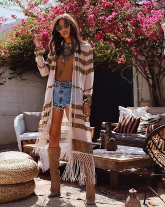 jacket capri jacket ring long jacket long robe robe high waisted shorts denim shorts short necklace brown top boots