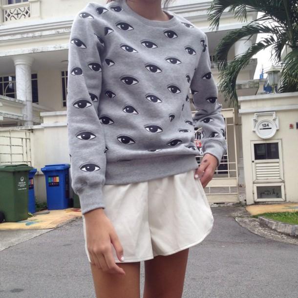 sweater grey black eyes eye cool shorts